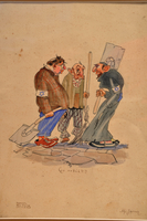 Cartoon of three Jews in a forced labor unit  Click to enlarge