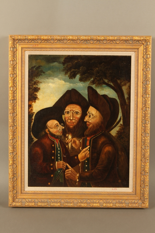 2016.184.276 front Painting of three Jewish hareskin dealers talking face to face