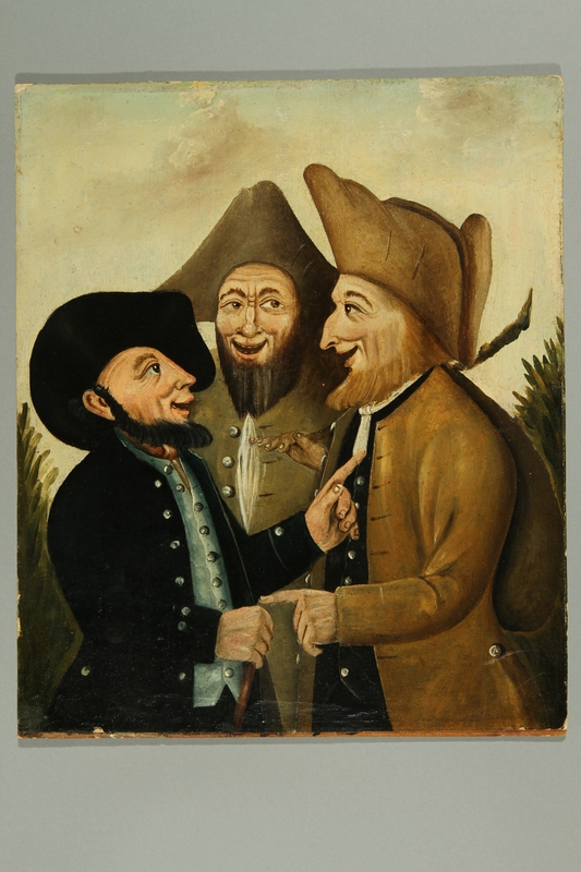 2016.184.277 front Painting of three Jewish hareskin dealers talking face to face