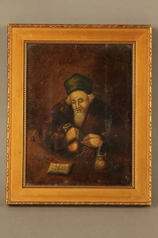 2016.184.283 front Painting of a richly dressed Jewish money lender counting his money