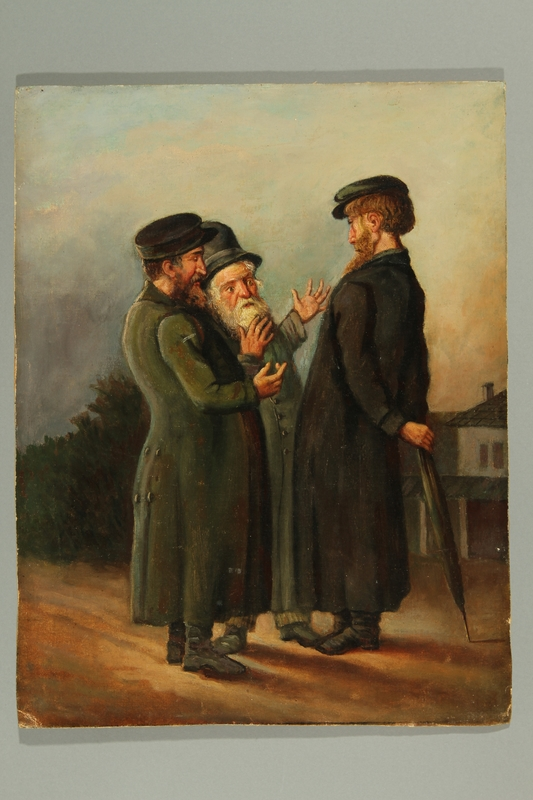 2016.184.284 front Painting of three older Jewish men having a chat outdoors