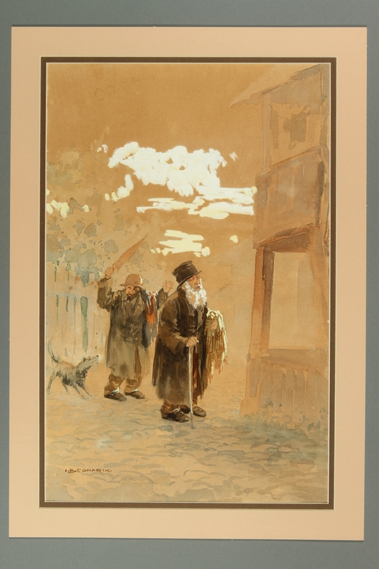 2016.184.286 front Watercolor of two Jewish peddlers being chased by a dog