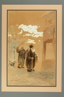 2016.184.286 front Watercolor of two Jewish peddlers being chased by a dog  Click to enlarge