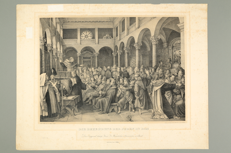 2016.184.287 front Print of Jews forced to listen to a Christian sermon