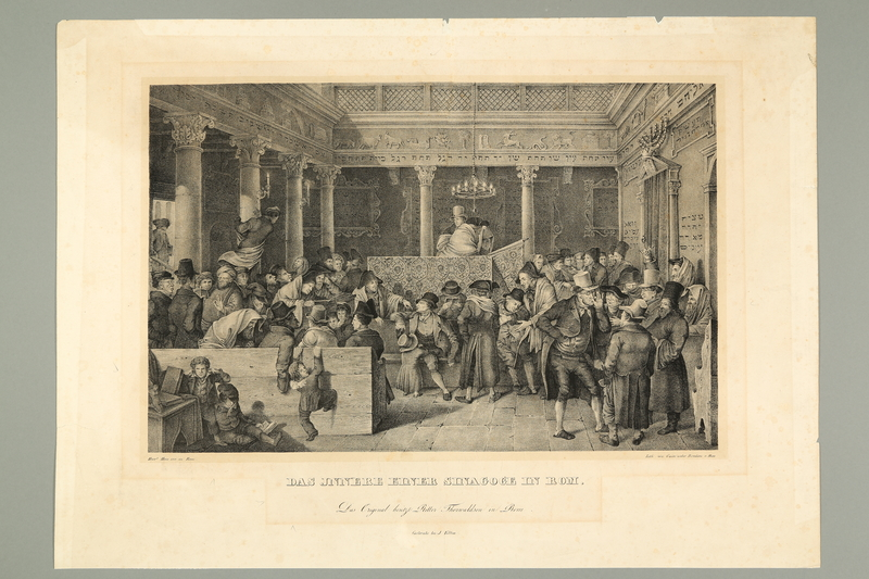 2016.184.288 front Print of an unruly crowd of Jews in a synagogue