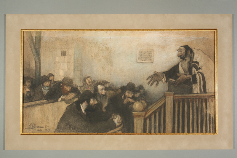 2016.184.295 front Pastel drawing of a congregation listening to their rabbi