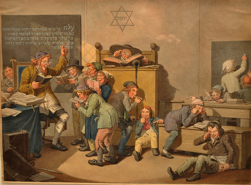 Colorful scene of a Jewish schoolroom and misbehaving students