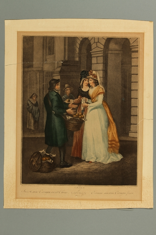 2016.184.299 front Print of 2 well dressed woman buying oranges from a Jewish peddler