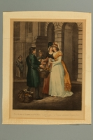 2016.184.299 front Print of 2 well dressed woman buying oranges from a Jewish peddler  Click to enlarge