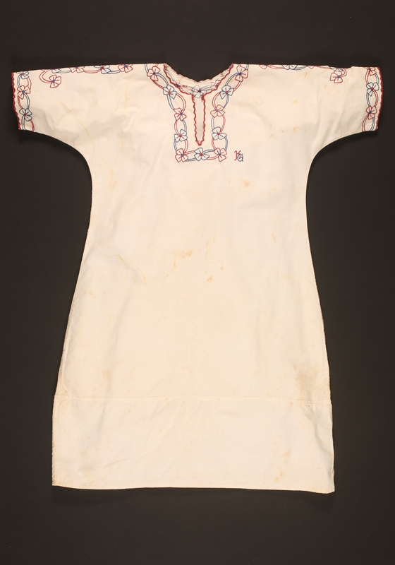 2016.112.3 front Nightgown with floral embroidery made for a young Austrian Jewish refugee before emigration