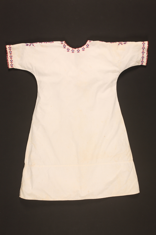 2016.112.4 back Embroidered nightgown made for a young Austrian Jewish refugee before her emigration