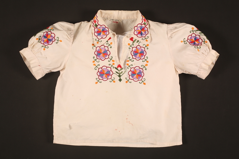 2016.112.5 front Embroidered blouse made for a young Austrian Jewish refugee before her emigration
