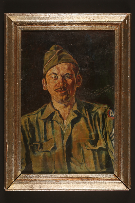 2016.114.2 front Portrait of a US soldier by Gyorgy Byfield, liberated concentration camp inmate