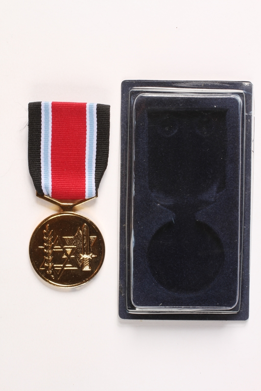 2003.361.17 a-b front Fighter against the Nazis Medal and box awarded to Jewish Brigade veteran