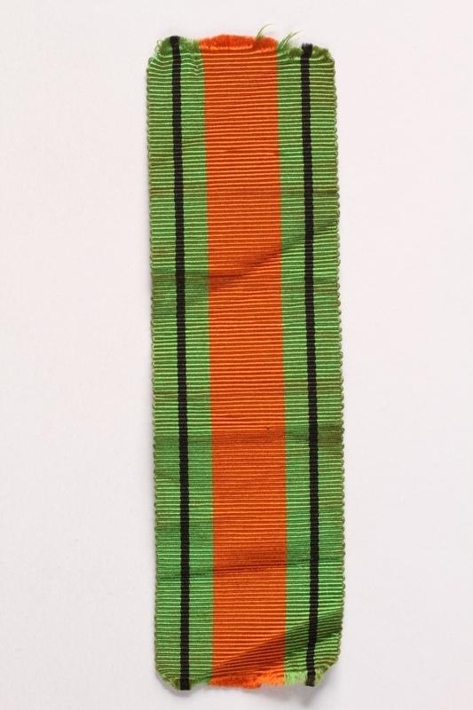 2003.361.18 front British Defence Medal 1939-1945 ribbon awarded to Jewish Brigade veteran