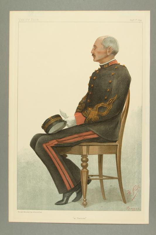 2016.184.313 front Color illustration of Dreyfus waiting for the 2nd court martial verdict