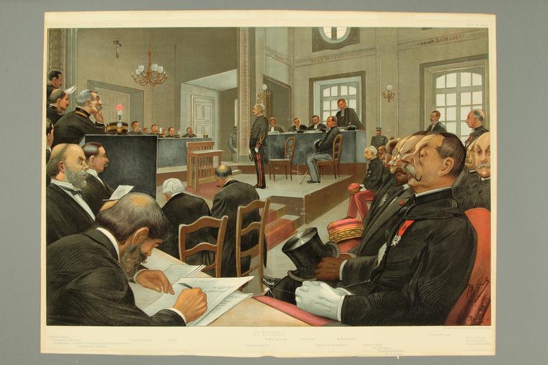 2016.184.316 front Color illustration of the 2nd Dreyfus court martial trial