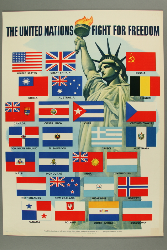 2015.562.5 front US poster depicting the Statue of Liberty and flags of the Allied Nations