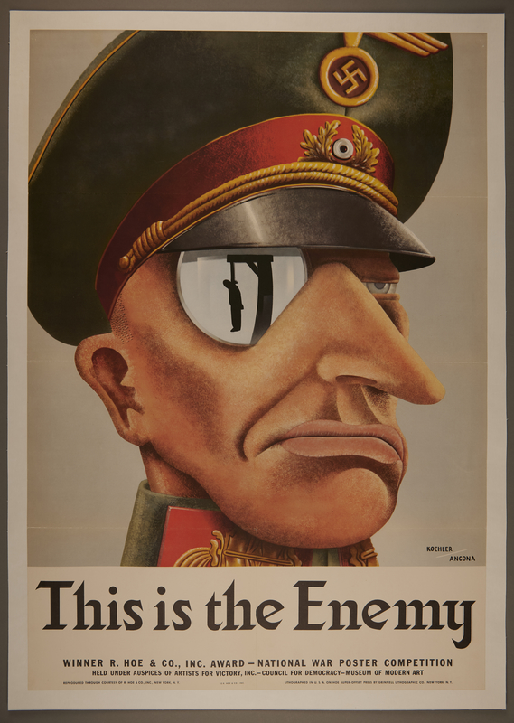 2015.562.6 Poster of a Nazi officer with a monocle reflecting a man hanging on a gallows