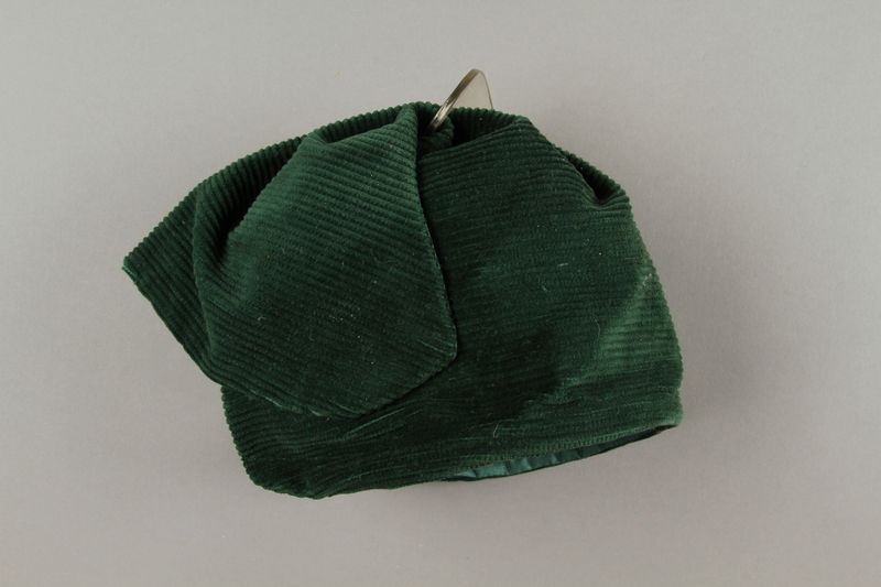 2016.121.7 left Green corduroy hat worn by a Hungarian Jewish woman