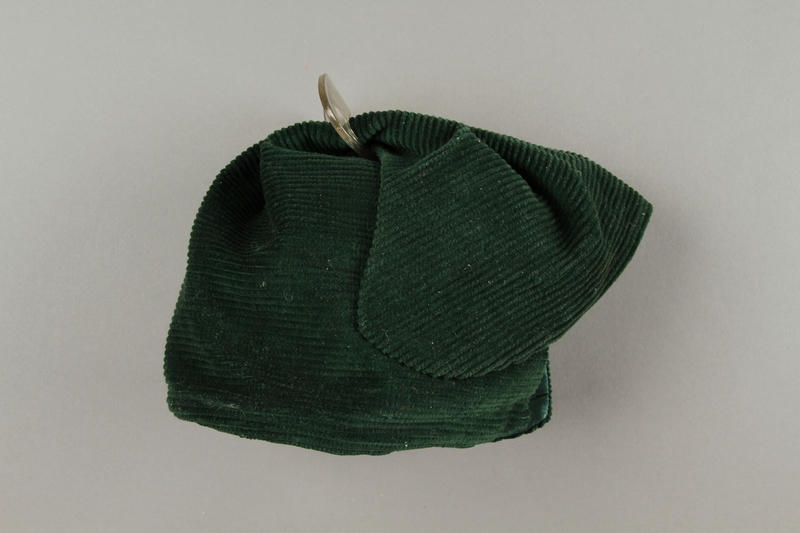 2016.121.7 right Green corduroy hat worn by a Hungarian Jewish woman