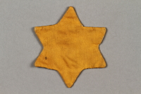2016.121.9 side b Yellow cloth Jewish star  Click to enlarge
