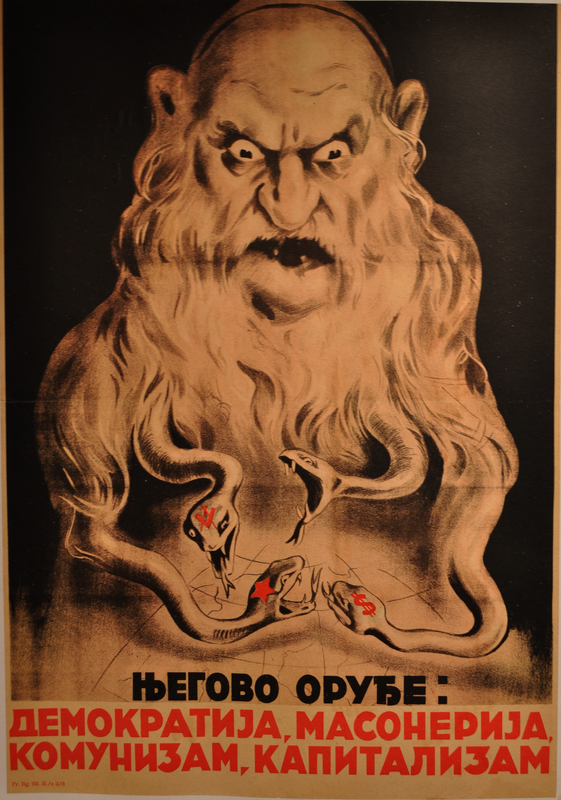 Poster of a evil looking Jewish man with snakes for a beard