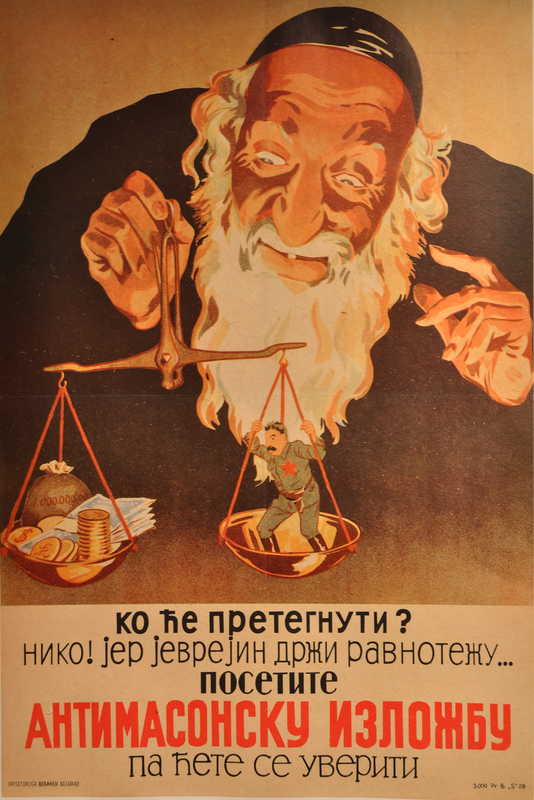 Poster of an Orthodox Jew balancing Stalin and 1 billion dollars on a scale
