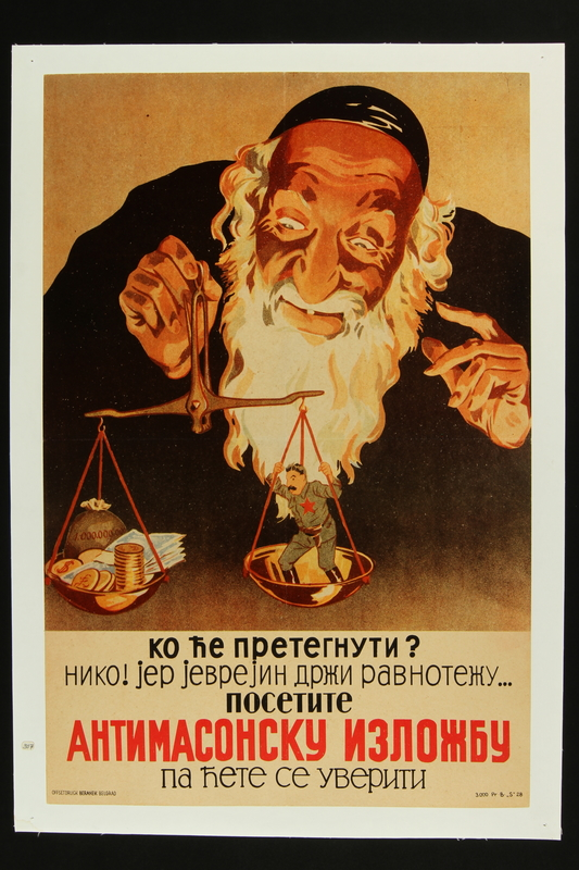 2018.184.333 front Poster of an Orthodox Jew balancing Stalin and 1 billion dollars on a scale