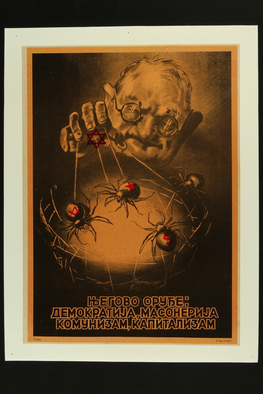 2016.184.341 front Poster of a Jewish man controlling spiders weaving a conspiracy