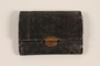 Black textured leather trifold wallet used by a Hungarian Jewish youth and former concentration camp inmate