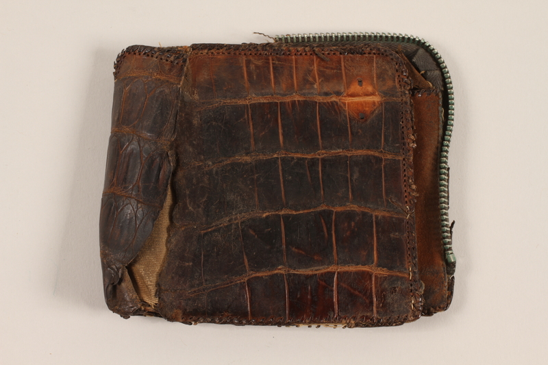 2012.409.4 closed Brown alligator wallet carried by a Hungarian Jewish youth while a forced laborer and concentration camp inmate