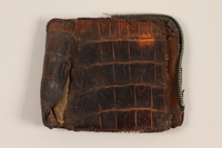 2012.409.4 closed Brown alligator wallet carried by a Hungarian Jewish youth while a forced laborer and concentration camp inmate  Click to enlarge