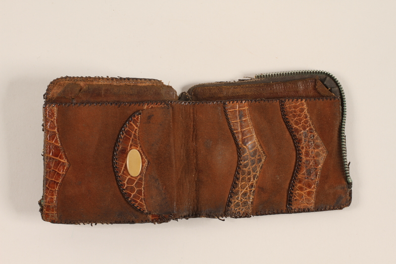 2012.409.4 open Brown alligator wallet carried by a Hungarian Jewish youth while a forced laborer and concentration camp inmate