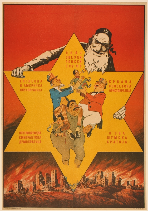 2016.184.343 front Poster of a Jew controlling Allied powers in a Star of David