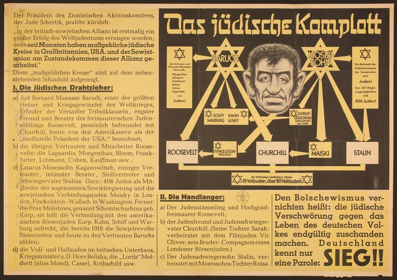 2016.184.348 front Nazi propaganda poster outlining the worldwide Jewish conspiracy