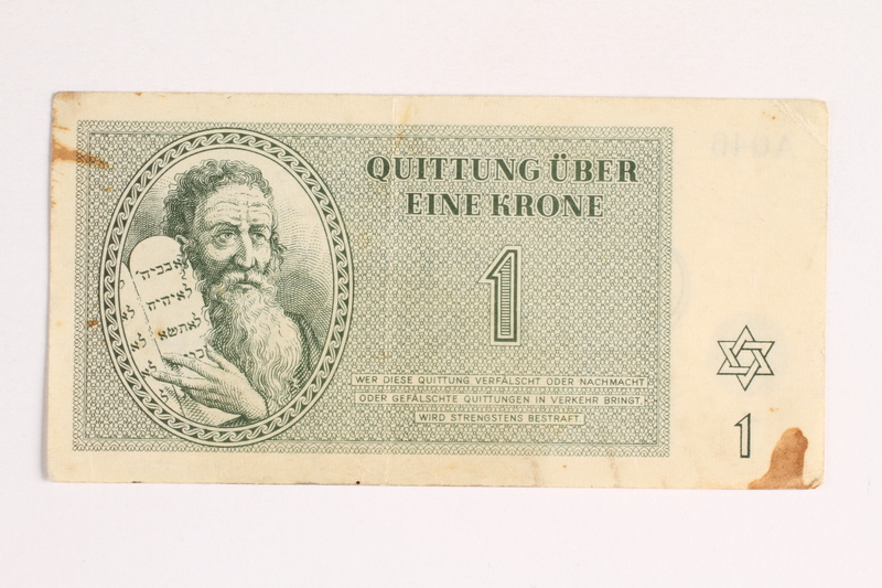 1988.43.7  front Theresienstadt ghetto-labor camp scrip, 1 krone note