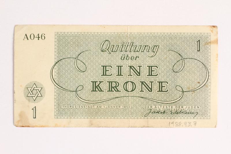 1988.43.7 back Theresienstadt ghetto-labor camp scrip, 1 krone note
