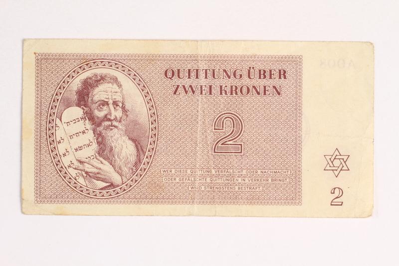1988.43.8 front Theresienstadt ghetto-labor camp scrip, 2 kronen note
