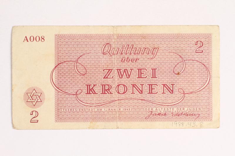 1988.43.8  back Theresienstadt ghetto-labor camp scrip, 2 kronen note