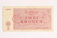 1988.43.8  back Theresienstadt ghetto-labor camp scrip, 2 kronen note  Click to enlarge