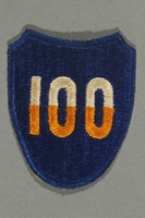2016.187.2 front US Army 100th Infantry Division patch worn by a Jewish emigre soldier  Click to enlarge
