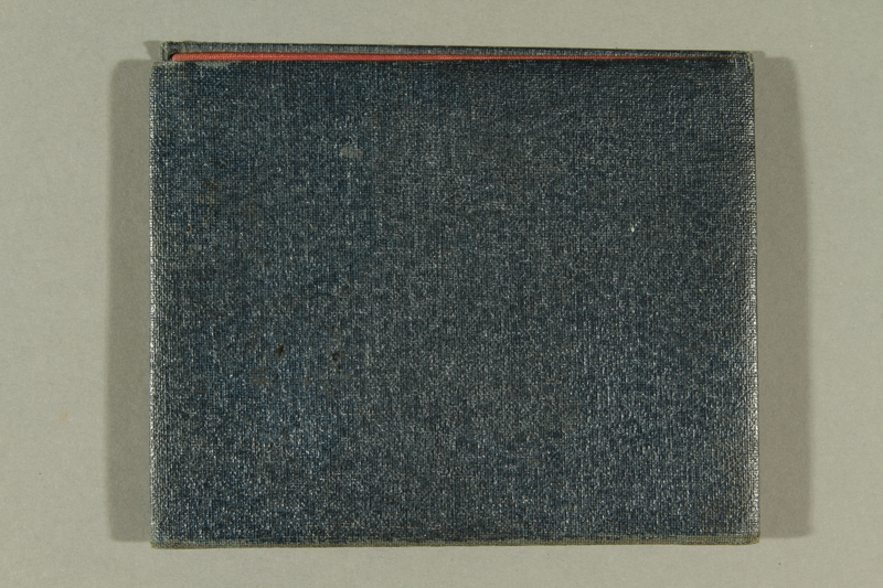 2016.187.6 back Cardboard cover used to hold identication by Jewish refugees