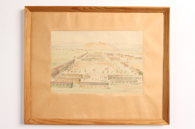 2003.149.84 front Watercolor of a POW camp owned by German Jewish US soldier