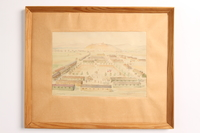 2003.149.84 front Watercolor of a POW camp owned by German Jewish US soldier  Click to enlarge