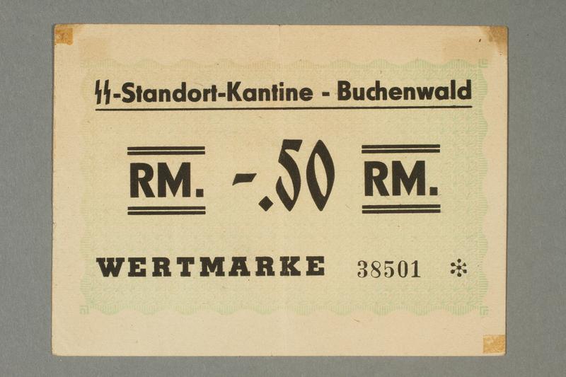 2016.136.1 front Buchenwald Standort-Kantine concentration camp scrip, .50 Reichsmark, found by a US soldier