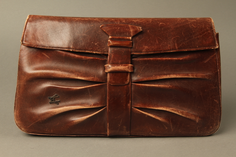 2016.151.2 front Brown leather satchel used by a Polish Jewish prisoner