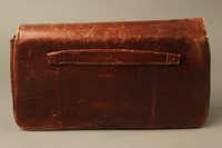 2016.151.2 back Brown leather satchel used by a Polish Jewish prisoner  Click to enlarge