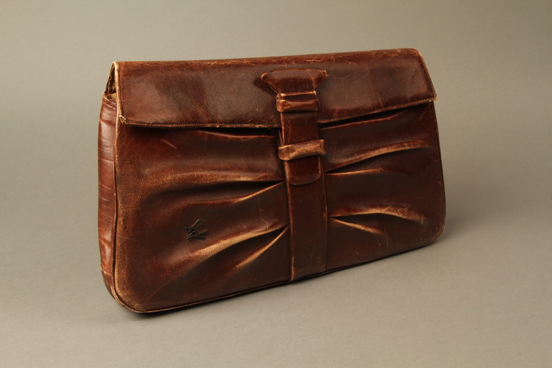 2016.151.2 closed Brown leather satchel used by a Polish Jewish prisoner