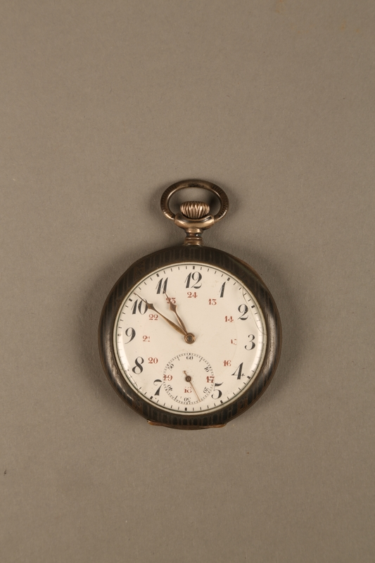 2016.137.5_a front Pocket watch with stand used by a Polish Jewish man while living in hiding